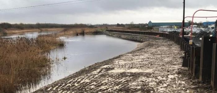 Picture of new flood wall Doora Bridge